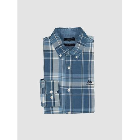 Indigo Blue Check Skjorte- Regular-Fit