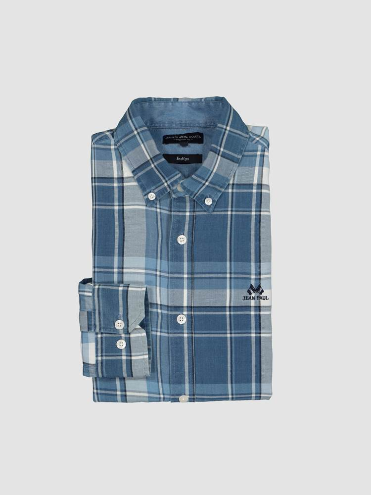 Indigo Blue Check Skjorte- Regular-Fit 7245751_ECN-JEANPAUL-S21-front_4245_Indigo Blue Check Shirt_Indigo Blue Check Skjorte- Regular-Fit ECN.jpg_Front||Front