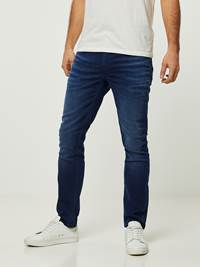 SLIM WILL BLUE OVERDYED BLUE KNIT STRETCH JEANS 7242627_D06-HENRYCHOICE-S20-Modell-front_25578_SLIM WILL BLUE OVERDYED BLUE KNIT STRETCH JEANS D06.jpg_Front||Front