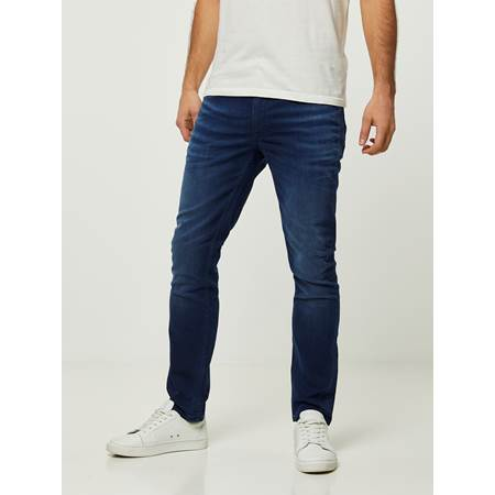 SLIM WILL BLUE OVERDYED BLUE KNIT STRETCH JEANS