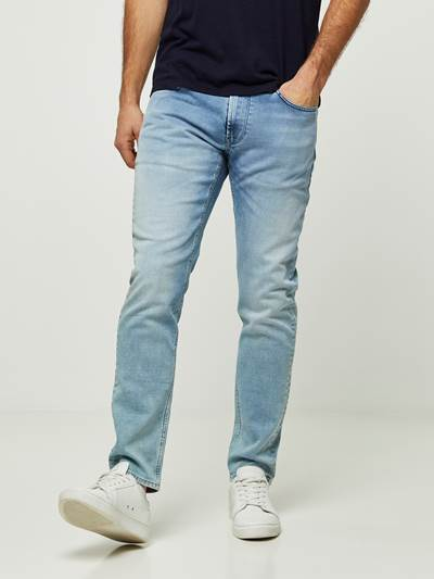 SLIM WILL BLEACH BLUE KNIT STRETCH JEANS DAD