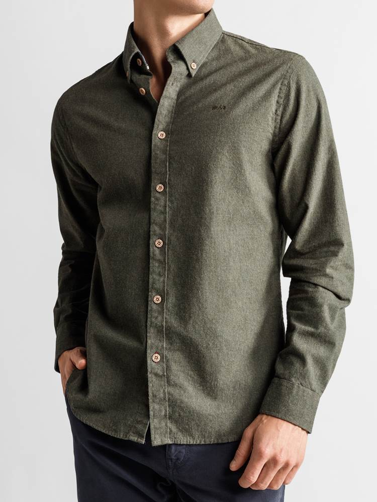 Hill Skjorte - Regular Fit 7235181_JP52_HILL MELANGE II BD SHIRT_FRONT_M_GOY_Hill Skjorte GOY_Hill Skjorte - Regular Fit GOY.jpg_