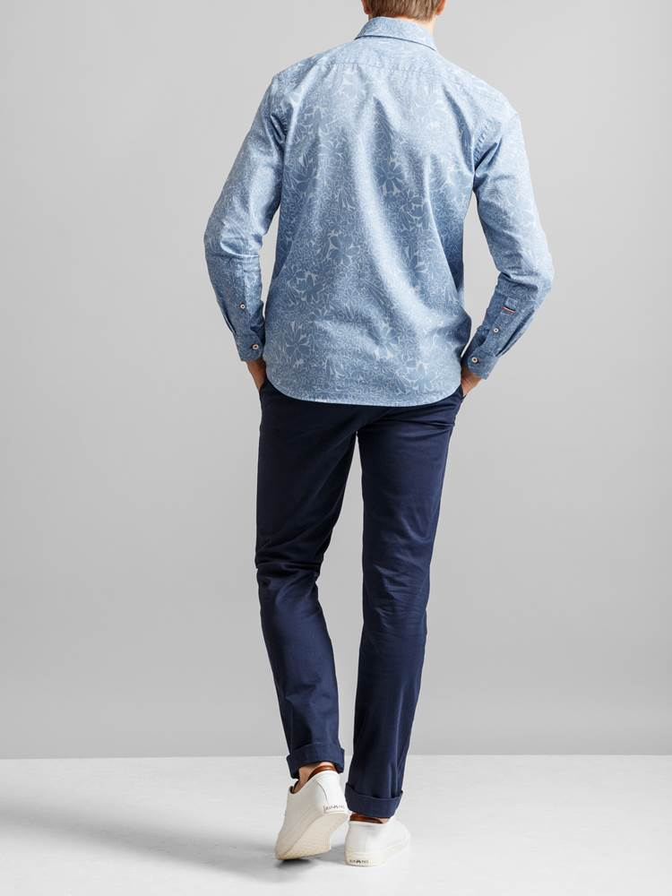 Cyril Printet Skjorte 7231209_JEAN PAUL_CYRIL CHAMBRAY PRINT SHIRT_BACK_EOD_Cyril Printet Skjorte EOD.jpg_Back||Back
