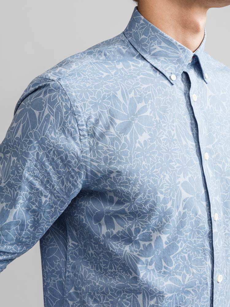Cyril Printet Skjorte 7231209_JEAN PAUL_CYRIL CHAMBRAY PRINT SHIRT_DETAIL_EOD_Cyril Printet Skjorte EOD.jpg_Front||Front