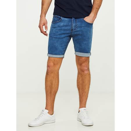 SLIM BLUE FLAME BERMUDA STRETCH SHORTS