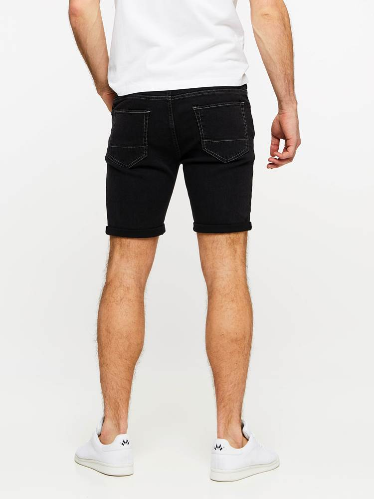 SLIM FIT BLACK BLACK STRETCH SHORTS 7237718_DAA-MADEBYMONKIES-H19-Modell-back_13367_SLIM FIT BLACK BLACK STRETCH SHORTS DAA.jpg_Back||Back