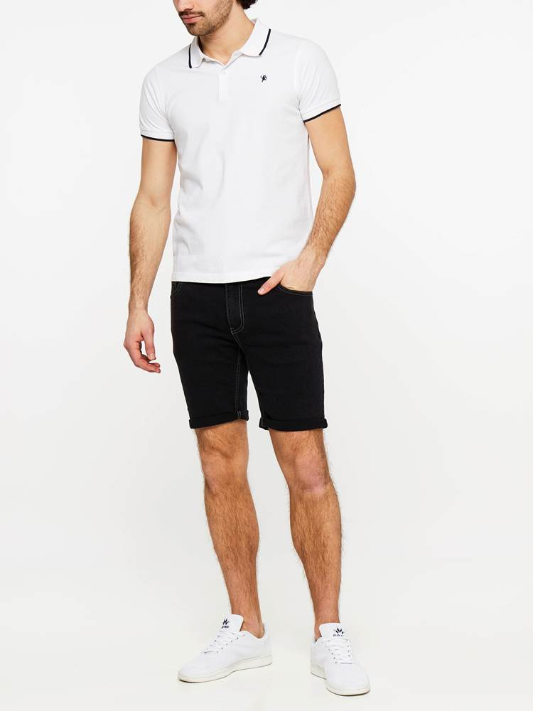 SLIM FIT BLACK BLACK STRETCH SHORTS 7237718_DAA-MADEBYMONKIES-H19-Modell-front_90238_SLIM FIT BLACK BLACK STRETCH SHORTS DAA.jpg_Front||Front