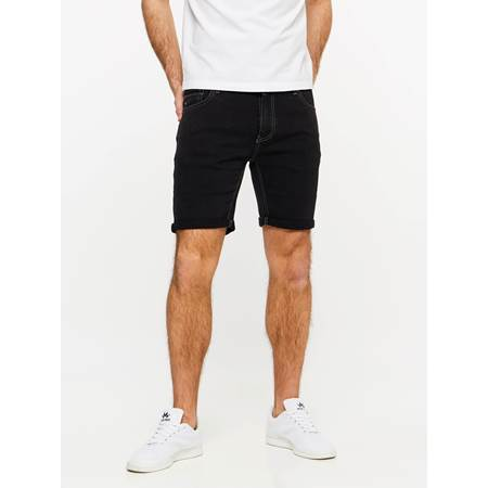 SLIM FIT BLACK BLACK STRETCH SHORTS