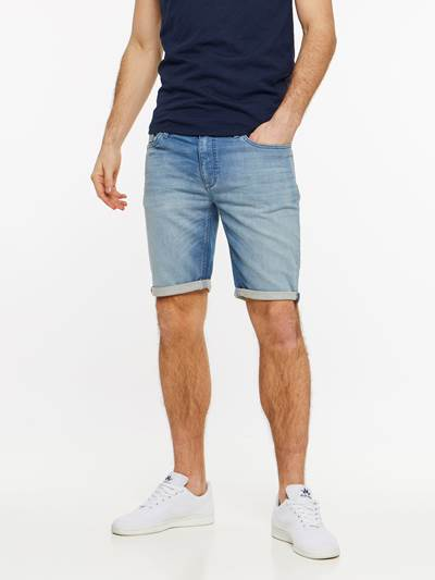SKINNY LIGHT BLUE KNIT SHORTS DAD