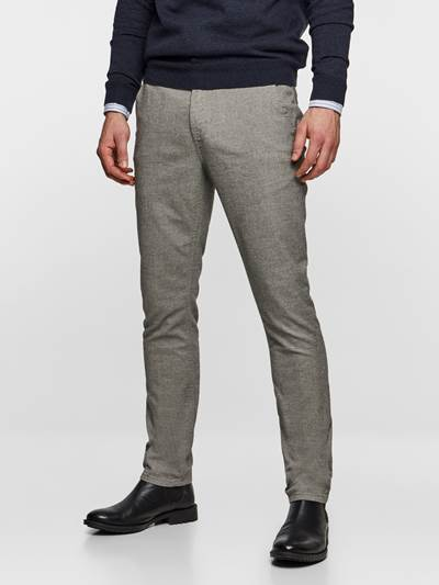 SLIM CHINO LIGHT GREY MELANGE STRETCH IEF