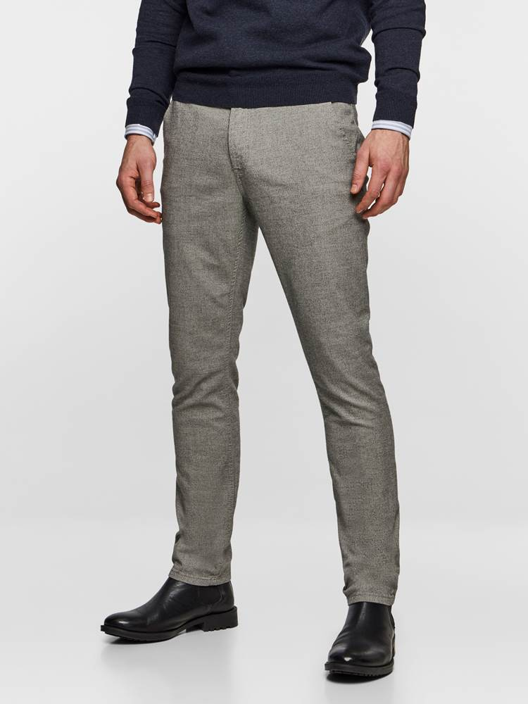 SLIM CHINO LIGHT GREY MELANGE STRETCH