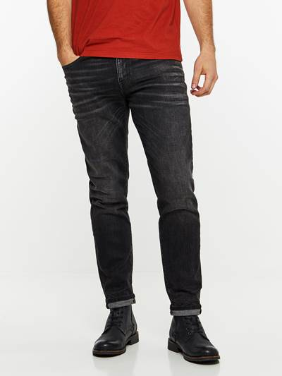 REGULAR ROD BLACK STRETCH JEANS D06