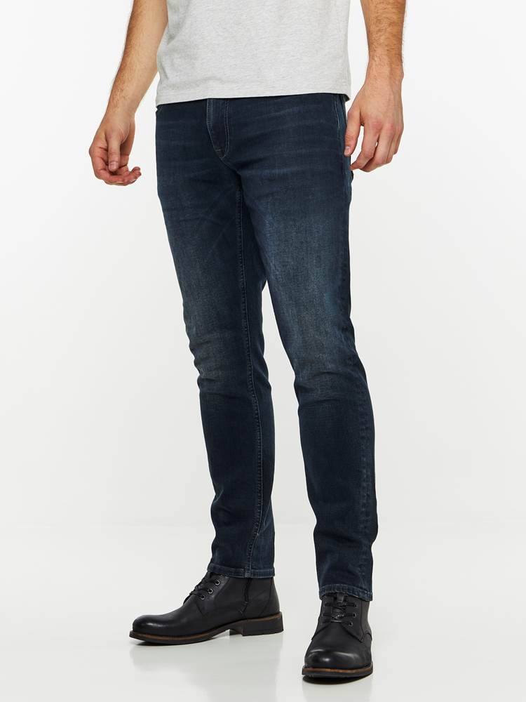 SLIM WILL BLUE OVERDYED STRETCH JEANS 7239664_DAB-HENRYCHOICE-A19-Modell-left_64821_SLIM WILL BLUE OVERDYED STRETCH JEANS DAB.jpg_Left||Left
