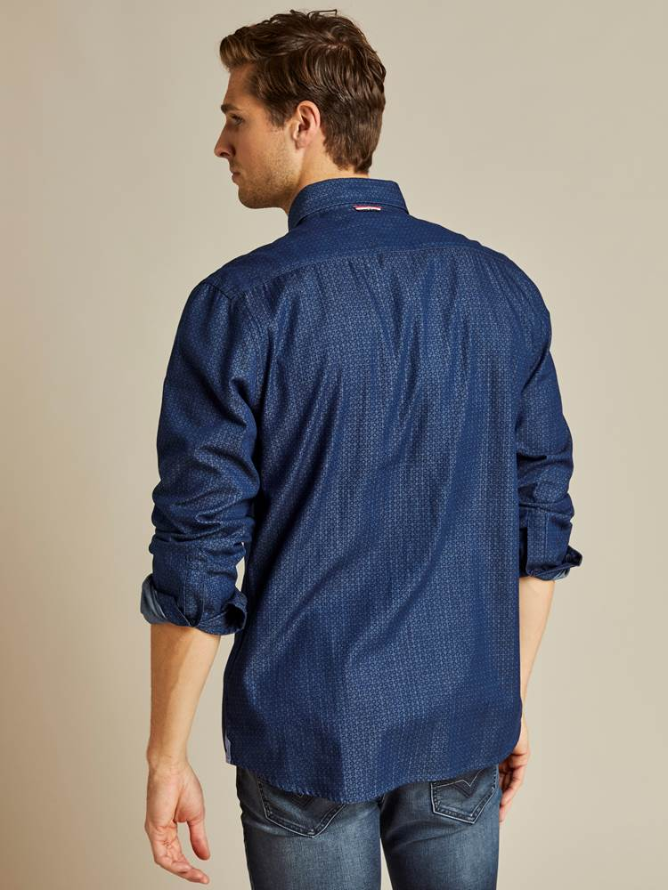 Jourdain Indigo Skjorte - Regular Fit 7238877_EGU_jeanpaul-A19-modell-back_Jourdain Indigo Skjorte - Regular Fit EGU.jpg_